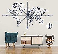 Mappa Del Mondo Bussola Adesivo Murale Vinile Home