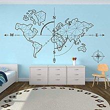 Mappa Del Mondo Bussola Terra Wall Sticker Ufficio