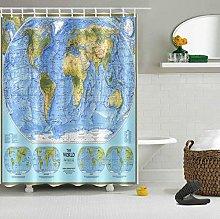 Mappa del mondo tessuto stampa HD, tenda doccia
