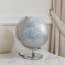 Mappamondo Plinio globo luminoso da tavolo argento