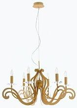 Marca - Lampadario dorato con decorazioni