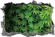 Marijuana, 3d, arte della parete, adesivo, foglia,