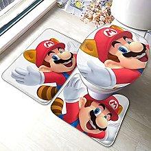 Mario - Set di 3 tappetini da bagno antiscivolo,