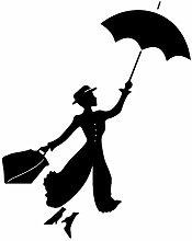 Mary Poppins con Ombrello Adesivo da parete