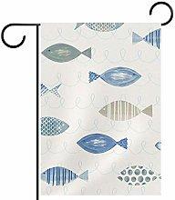 MEITD Bandiera da giardino a forma di pesce blu,
