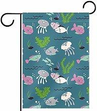 MEITD - Bandiera da giardino a forma di pesce, su