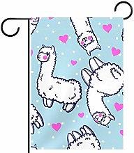 MEITD Bandiera da giardino con alpacas e cuori su