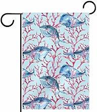 MEITD Bandiera da giardino con balena blu, su