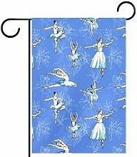 MEITD - Bandiera da giardino con ballerina, doppia