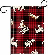 MEITD - Bandiera da giardino con cane su entrambi