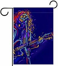 MEITD - Bandiera da giardino con chitarra, doppia