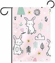 MEITD Bandiera da giardino con coniglio bianco,