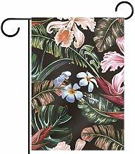 MEITD - Bandiera da giardino con fiori e foglie di
