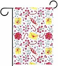 MEITD - Bandiera da giardino con fiori e regali,