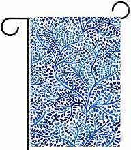 MEITD Bandiera da giardino con foglie blu su