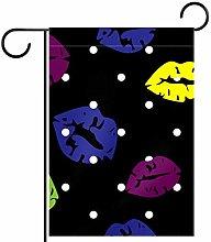 MEITD - Bandiera da giardino con labbra colorate,