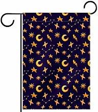MEITD - Bandiera da giardino con luna e stelle su