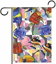 MEITD - Bandiera da giardino con pesci acquerelli,