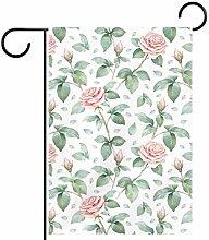 MEITD Bandiera da giardino con rose su entrambi i
