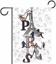 MEITD Bandiera da giardino con torre Eiffel,