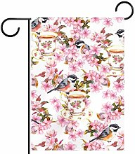 MEITD Bandiera da giardino con uccelli e fiori,
