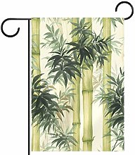 MEITD Bandiera da giardino in bambù, doppia