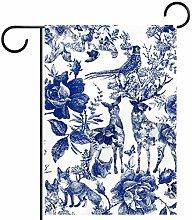 MEITD - Bandiera da giardino vintage con rose su
