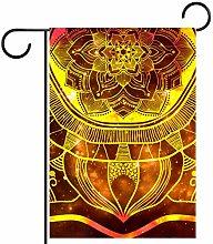 MEITD - Bandiera decorativa con mandala dorata per