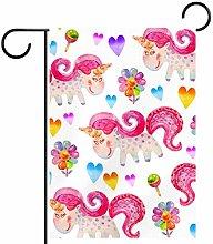 MEITD, graziosa bandiera da giardino con unicorno,