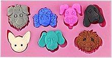 Mengmengda - Stampo in silicone con teste di cane,