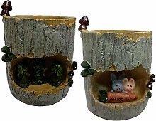 MERIGLARE 2 Pezzi Carino Resina Succulente Vaso di