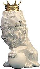 MERIGLARE Corona Leone Statua Animale Selvatico