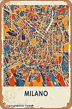 Milano Mappa 20 x 30 cm in stile vintage in latta