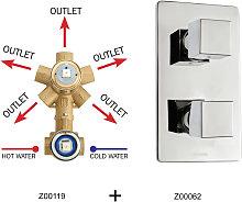 Miscelatore doccia 5 uscite in ottone con parte