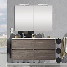 Mobile bagno 120 cm con 4 cassetti, doppio lavabo