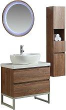 Mobile Bagno 80 Cm Lavabo Specchio E 1 Pensile