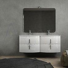 Mobile bagno doppio lavabo bianco lucido sospeso