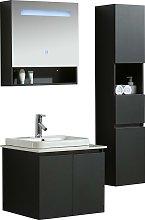 Mobile Bagno Sospeso 80 Cm Lavabo Specchio E 1