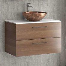 Mobile bagno sospeso da 80 cm con piano solid