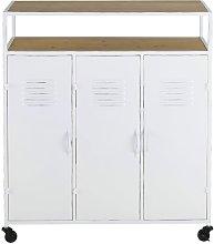 Mobile bar a 3 ante in metallo bianco e abete
