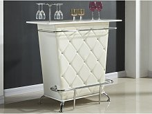 Mobile bar in Similpelle e strass Bianco - CLAY