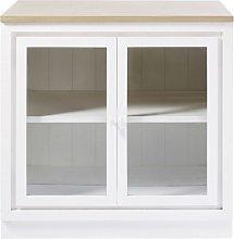 Mobile basso da cucina a 2 ante a vetri bianco