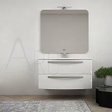 Mobile Da Bagno Sospeso Curvo Bianco Lucido 100 cm