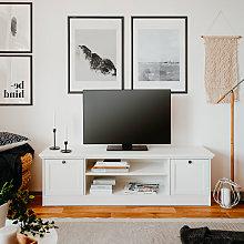 Mobile porta TV basso design rustico bianco 160cm