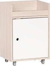 Mobiletto contenitore con rotelle bianco e legno