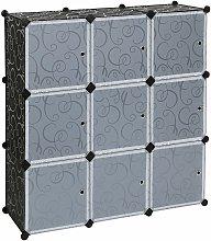 Mobiletto modulare quadrato NERO 9 scomparti