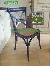 MOBILI 2G - SET 4 Sedie in legno colorato laccato