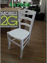 Mobili 2G - Set 6 Sedie Shabby Impugnatura Legno