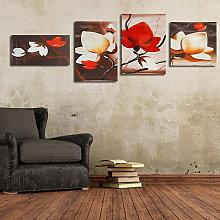 Moda 4 pezzi fiore astratto arte della parete