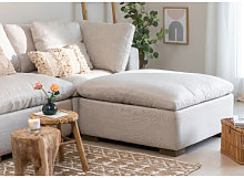 Moduli divano in lino Belah Beige Crema & Pouf